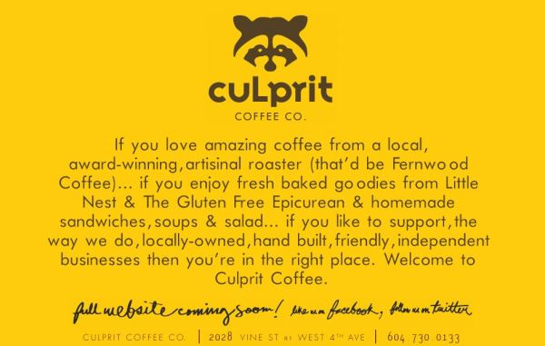 Culprit Coffee website